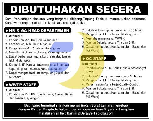 Lowongan Kerja Lampung: TEPUNG TAPIOKA