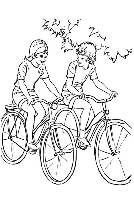 صورة اطفال يقودون الدراجات الهوائية وهم يتحدثون بمرح للتلوين