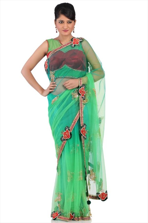latest Turquoise Blue Net Saree