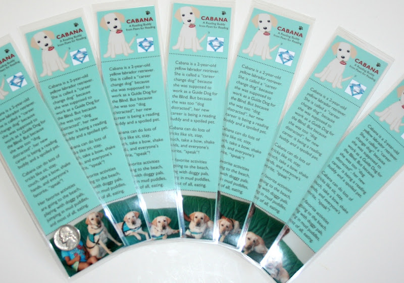 fanned out bookmarks in a teal green, with a cartoon like image of cabana at the top, text about cabana in the middle, then a photo of each child sitting next to cabana on a green naugahyde couch