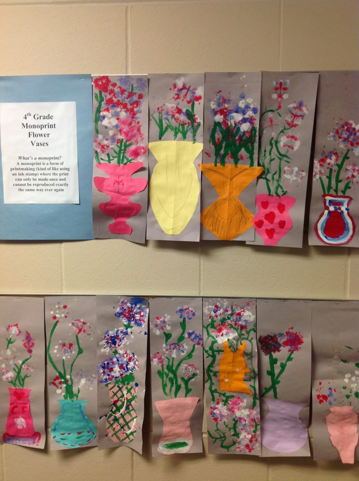 Fourth Grade Monoprint Flower Vase Printmaking