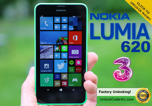 Factory Unlock Code for Lumia 620 from 3 network