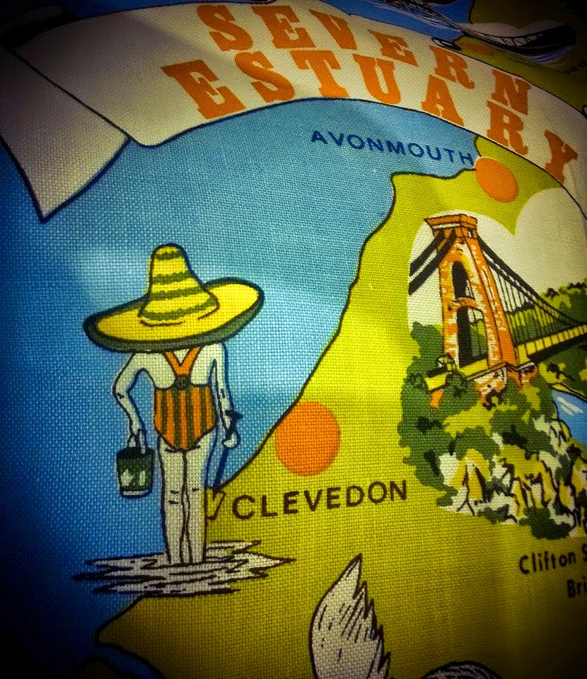 Vintage Find - The Severn Estuary fabric - New Cushion