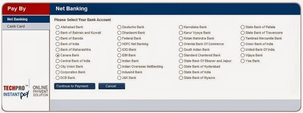 Online Payment Banks Screenshot