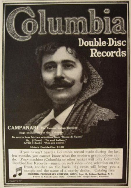 GREAT ITALIAN BARITONE GIUSEPPE CAMPANARI (1855 - 1927) CD