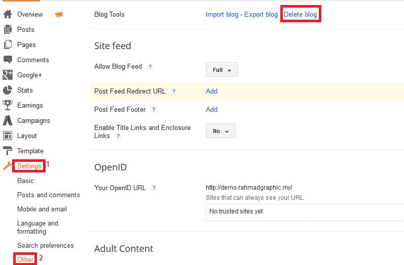 Cara Untuk Delete Blog Blogspot
