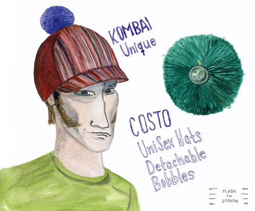 Costo Kombai Unique Hat with detachable bobble.