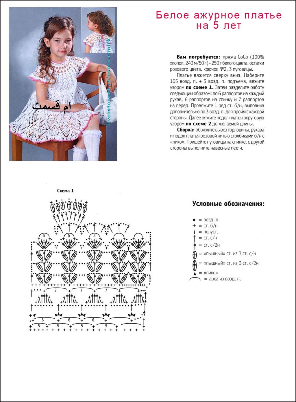 Вязаное платье спицами для девочки лет схема