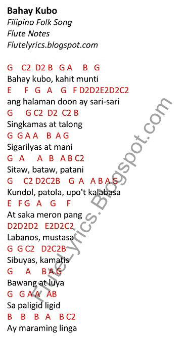 Bahay Kubo - Filipino Folk Song (Flute Notes) : Music Letter Notes : FluteNotes.ph