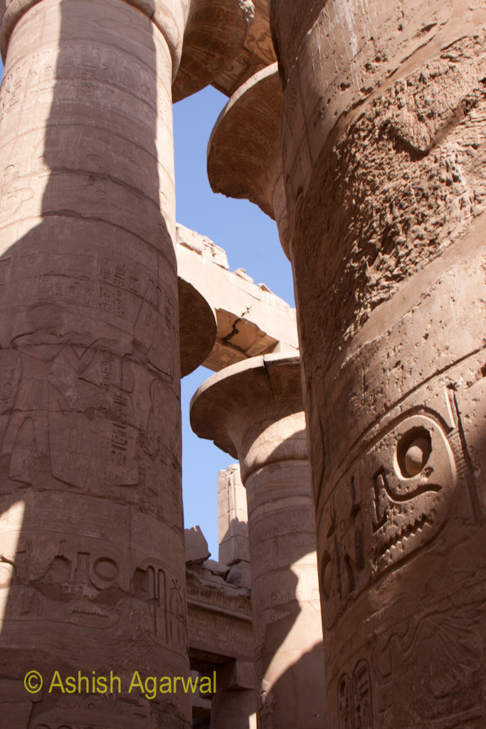 Gap between pillars inside the Hypostyle Hall in the Karnak temple