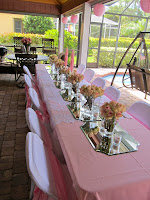 bridal shower table setting with flowers