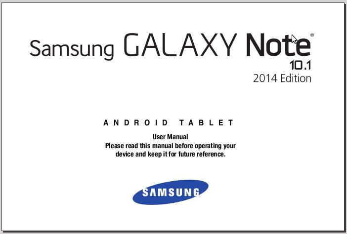 Samsung Galaxy Note 10.1 Manual (2014 Edition)