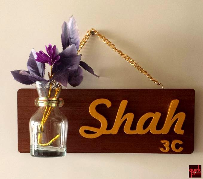 Quirk It Design Wooden Name Plate With A Dash Of Nature