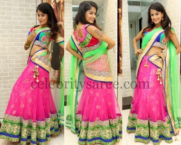 Anukruthi Pink Half Saree
