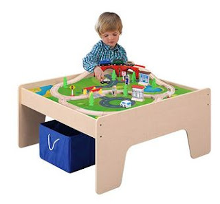 Walmart: Wooden Activity Table with 45-Piece Train Set & Storage Bin Just $45 Shipped