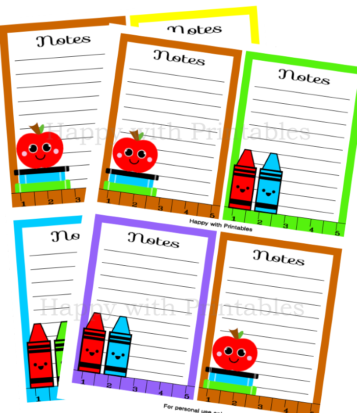 Notecards- Back to School - Printable - Instant Download - Teacher gift - DIY