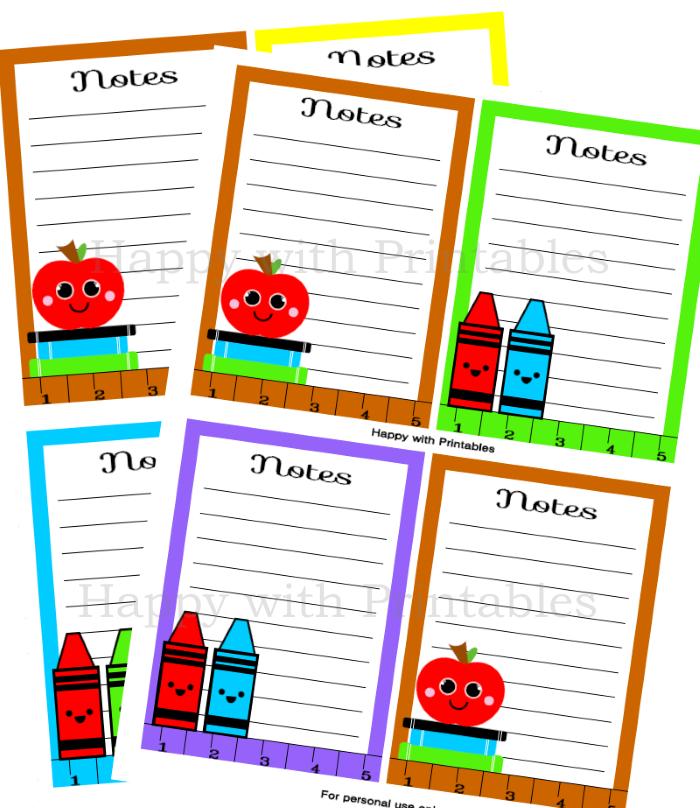 Notecards- Back to School - Printable - Instant Download - Teacher gift - DIY