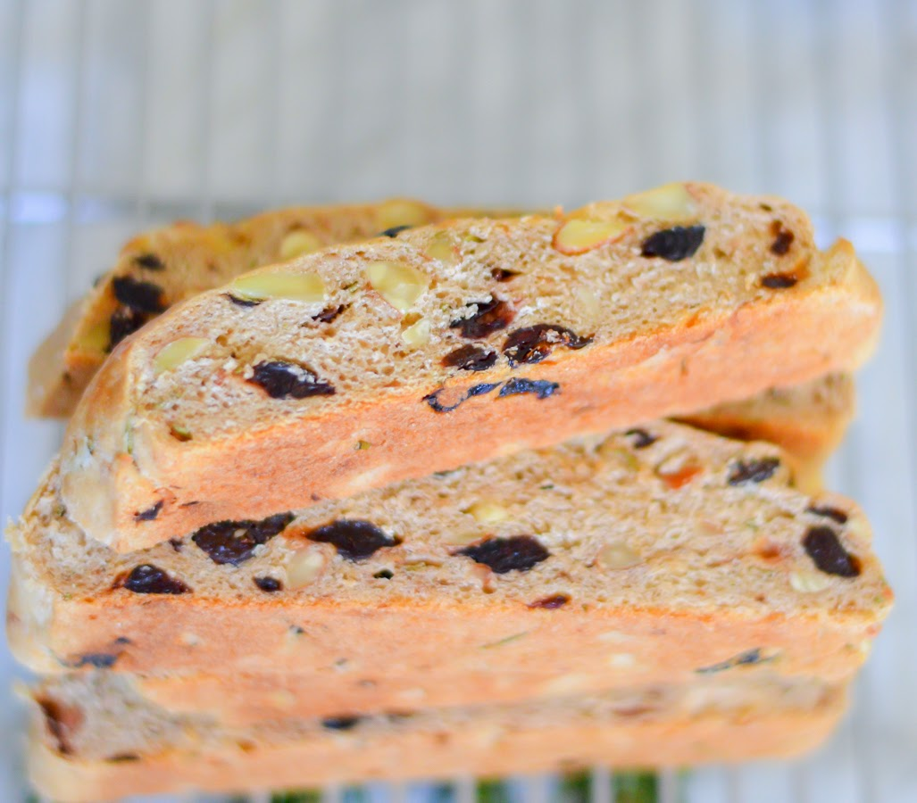 Rosemary, Dried Cherry, + Almond Focaccia via @lucismorsels