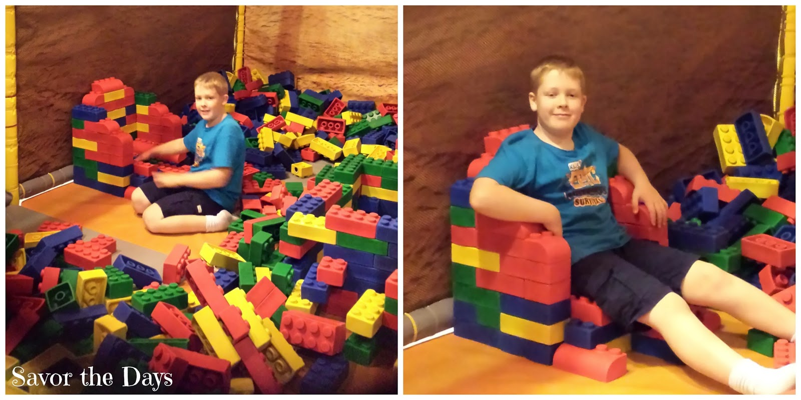 Boy in giant Lego throne at Legoland Discovery Center in Grapevine