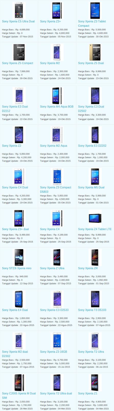 Daftar Harga Hp Sony November 2015