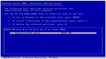 Tahap Partisi Windows Server 2003