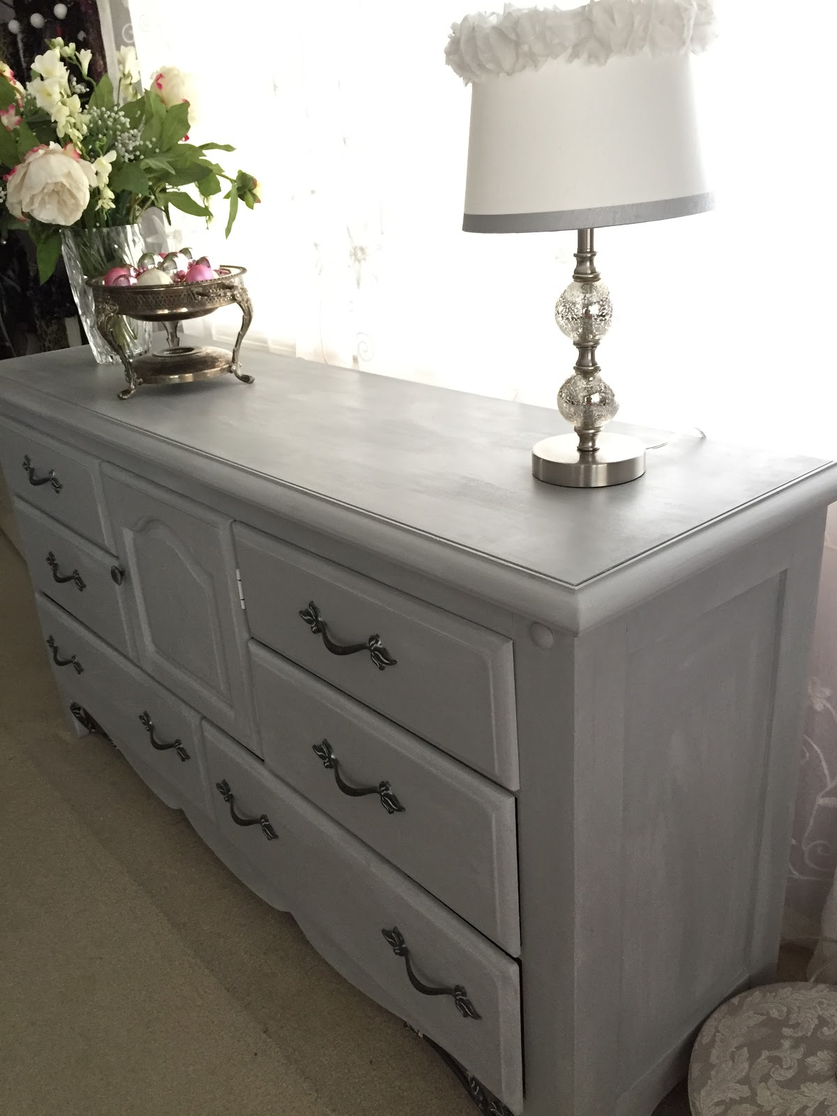 Annie Sloan Paris grey dresser makeover
