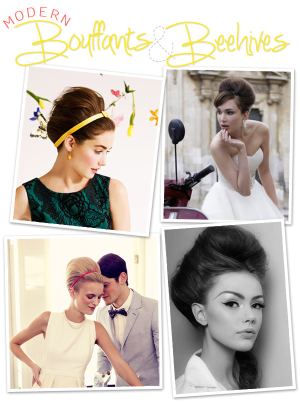 Bouffants beehives Mad Men vintage modern wedding hair trends tutorial wedding event planner soireebliss