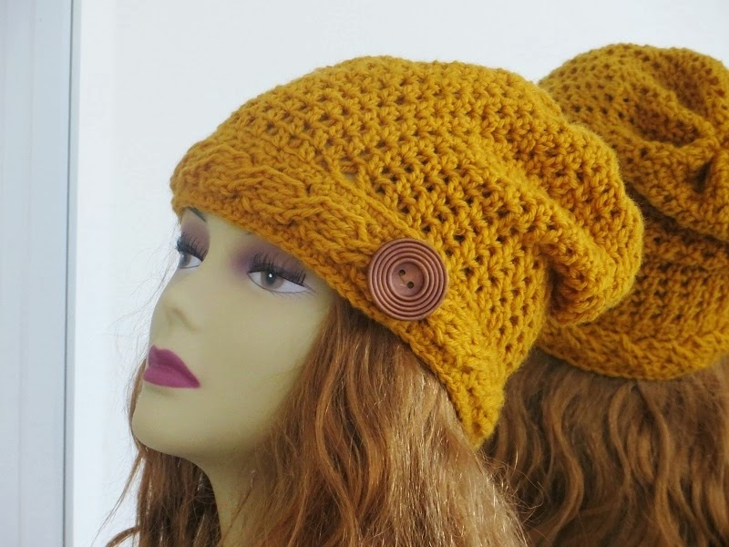 Free Crochet Pattern Beanie With Brim : Crochet Dreamz: Sydney Slouch Hat Crochet Pattern, Cable ...