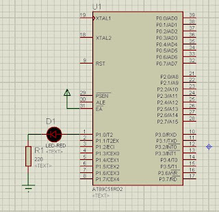 8051 LED blinking Program and Proteus design files