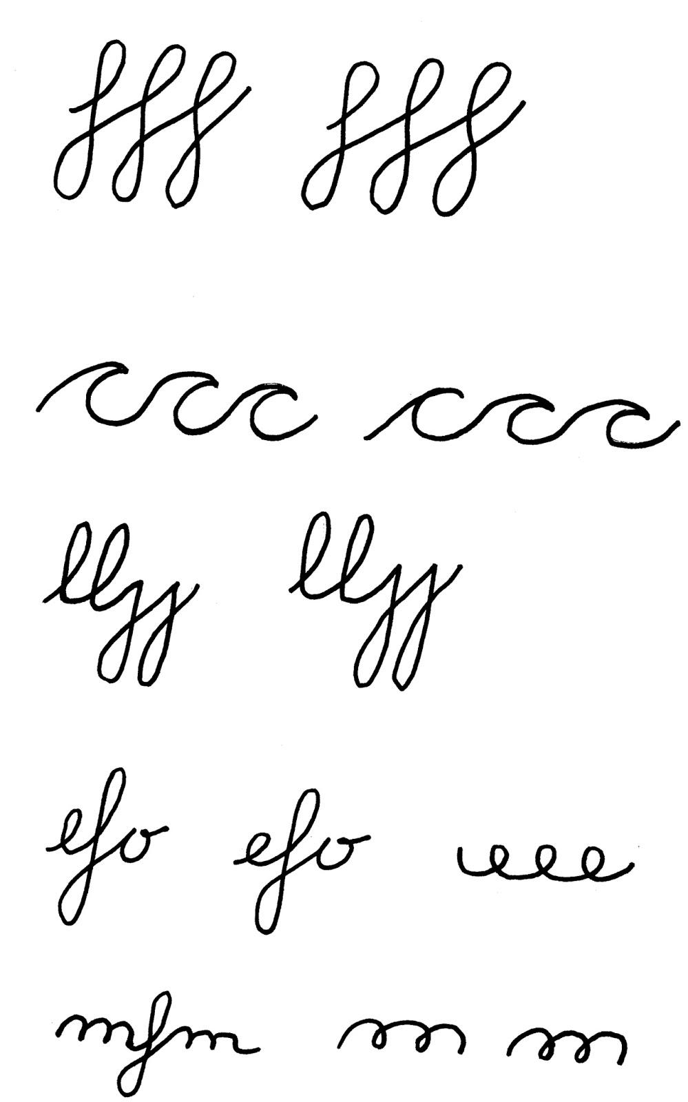 Ejercicios para letra cursiva