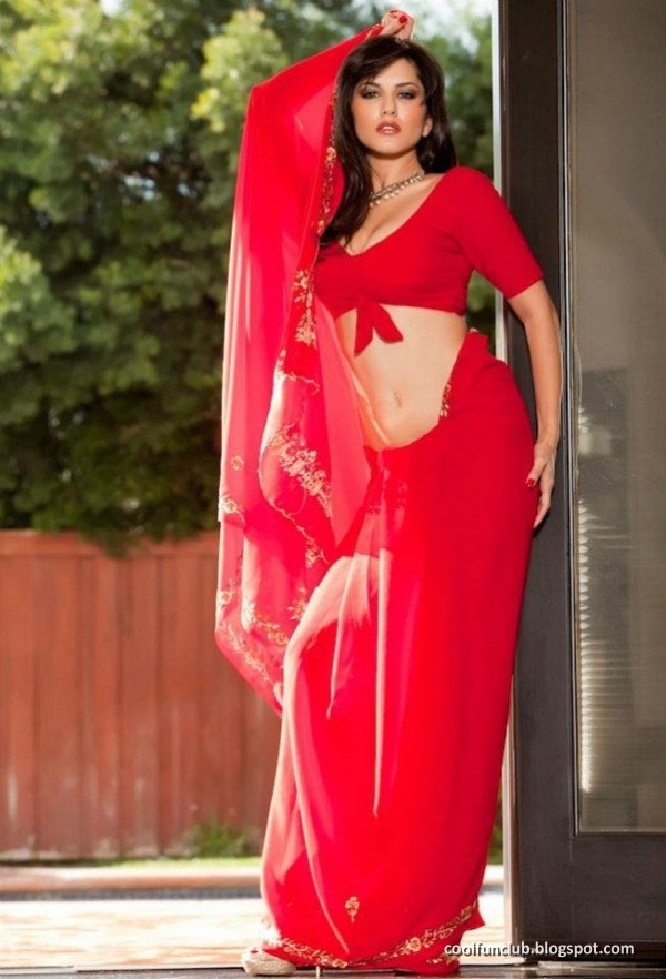 Meet Sunny Leone The American Actress Here In This Red Saree Looking
