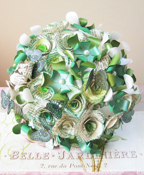 Emerald Greens Book Paper Flowers Wedding Bouquet