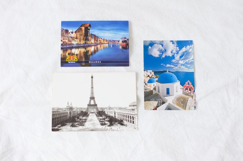 postcrossing, pocztówki, inspiracje, Paryż, Santorini, Gdańsk