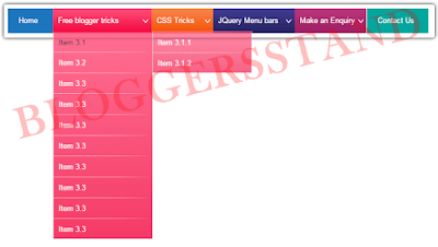 Jquery stylish Colorful Drop Down Navigation Menu Bar for blogger