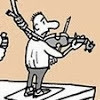 Laerte Coutinho: Hung while playing the violin.