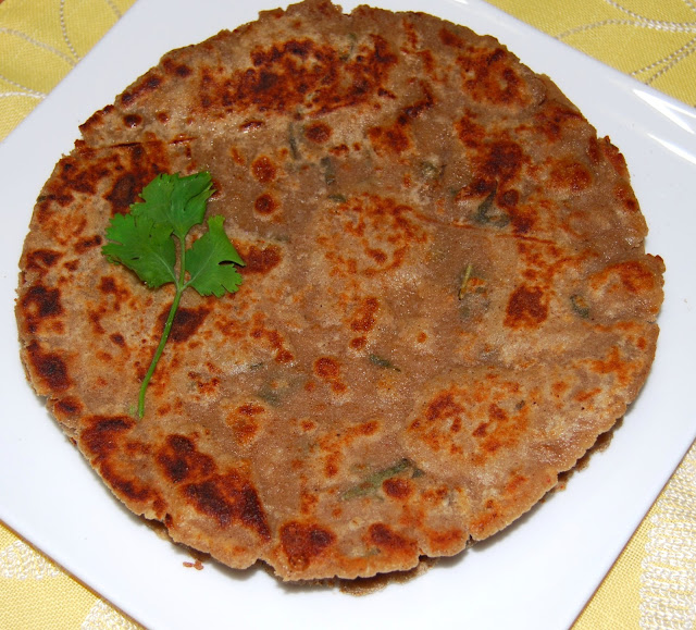 Arbi or colocasia paratha, a gluten-free vegan Indian recipe