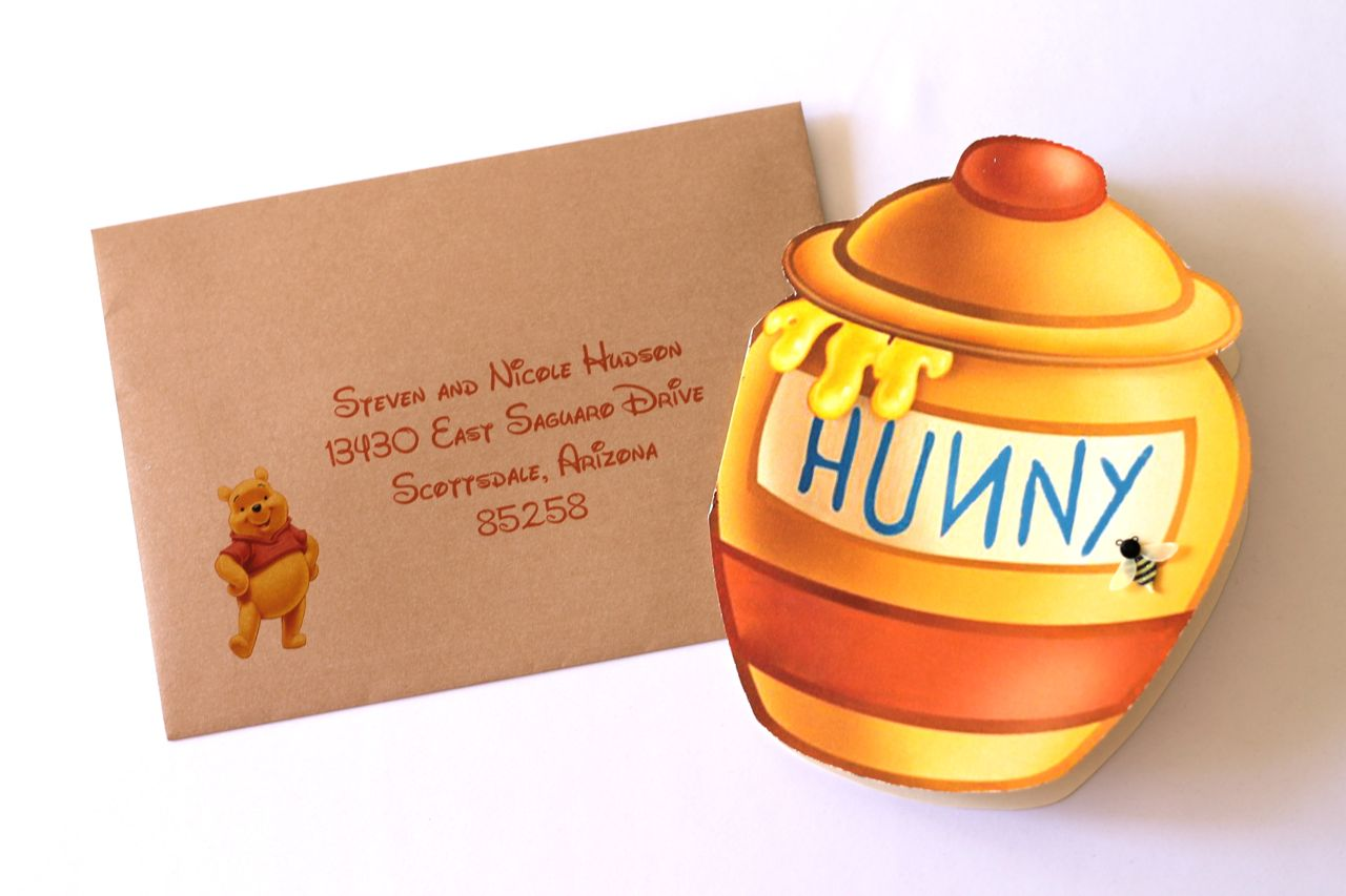 embellished paperie winnie the pooh hunny jar invites