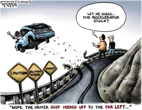 obama driving of a cliff 