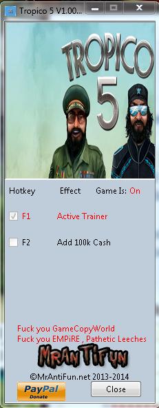 Tropico 5 V1.00 Trainer +1 MrAntiFun