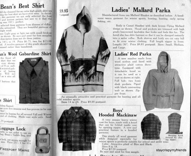 LL Bean Fall Catalog 1941 Vintage Pendleton Parka Husdon Bay Point Blankets