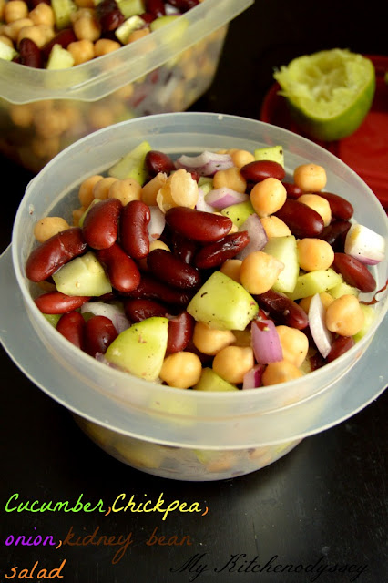 cucumber ,kidney bean and chickpea salad