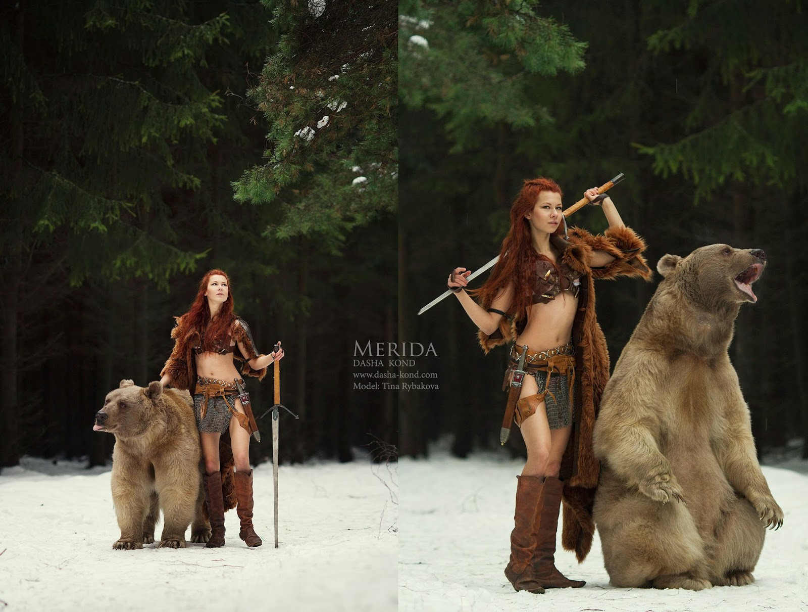 dyptique de femme en costume de merida avec un ours par Dasha Kond