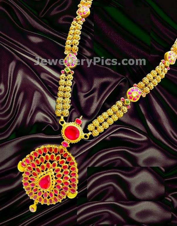 Antique gold ball two layer necklace with antique ruby pendent by Nalli jewellers