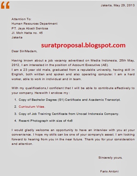 Contoh Surat Lamaran Kerja Bahasa Inggris Posisi Account Executive