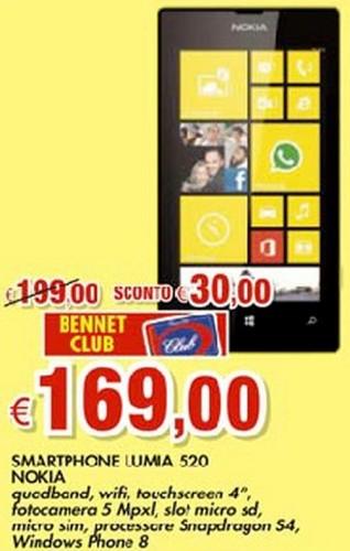 Buona offerta nell'ultimo volantino Bennet sullo smartphone windows phone 8 base di Nokia ovvero il Lumia 520