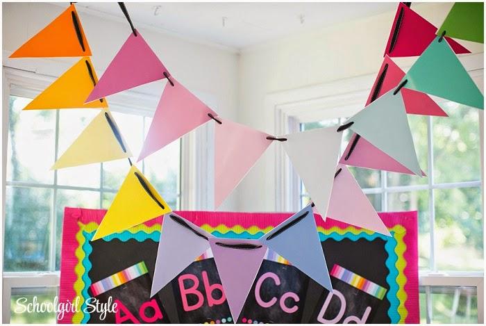 Rainbow Chalkboard classroom theme from Schoolgirl Style