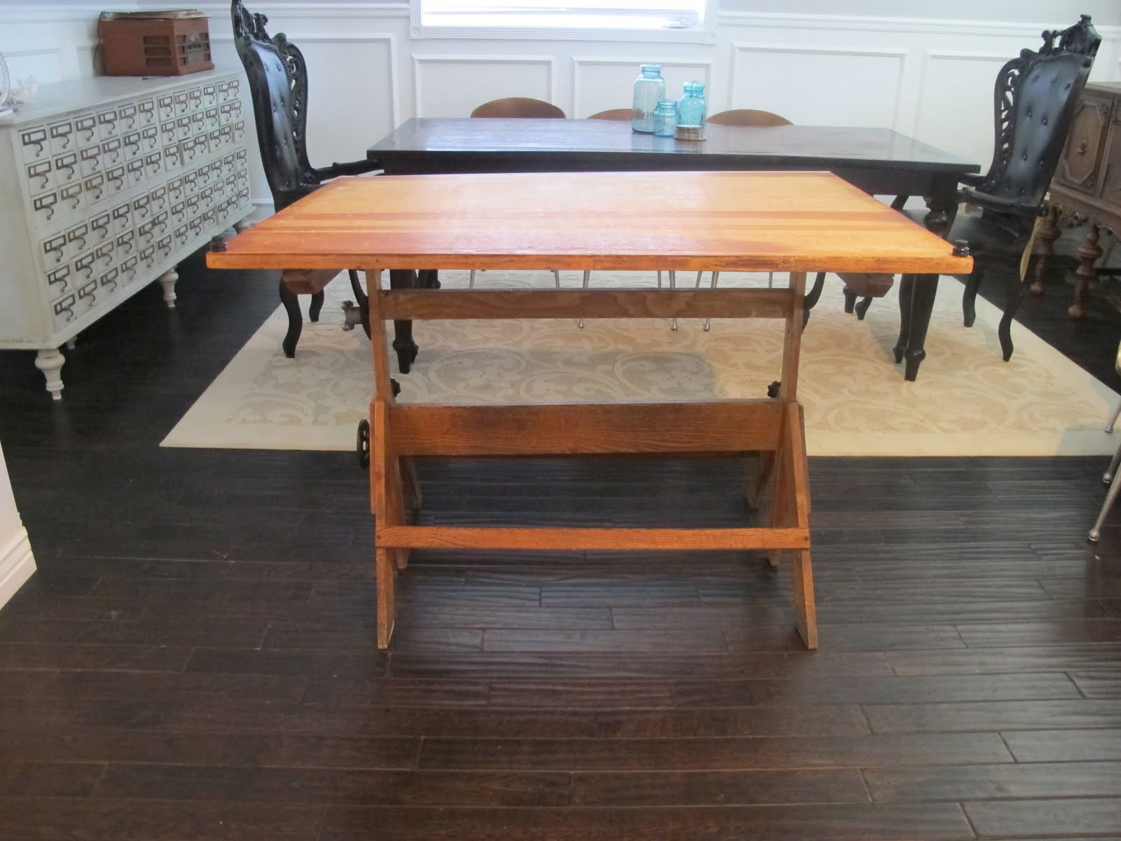 Vintage Drafting Table Turned Dining Table Dream Book Design