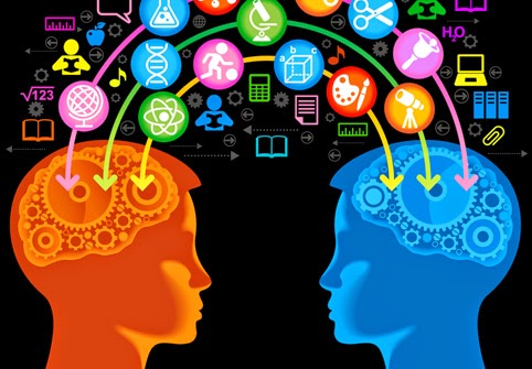 cartoon of two children heads with information going into them