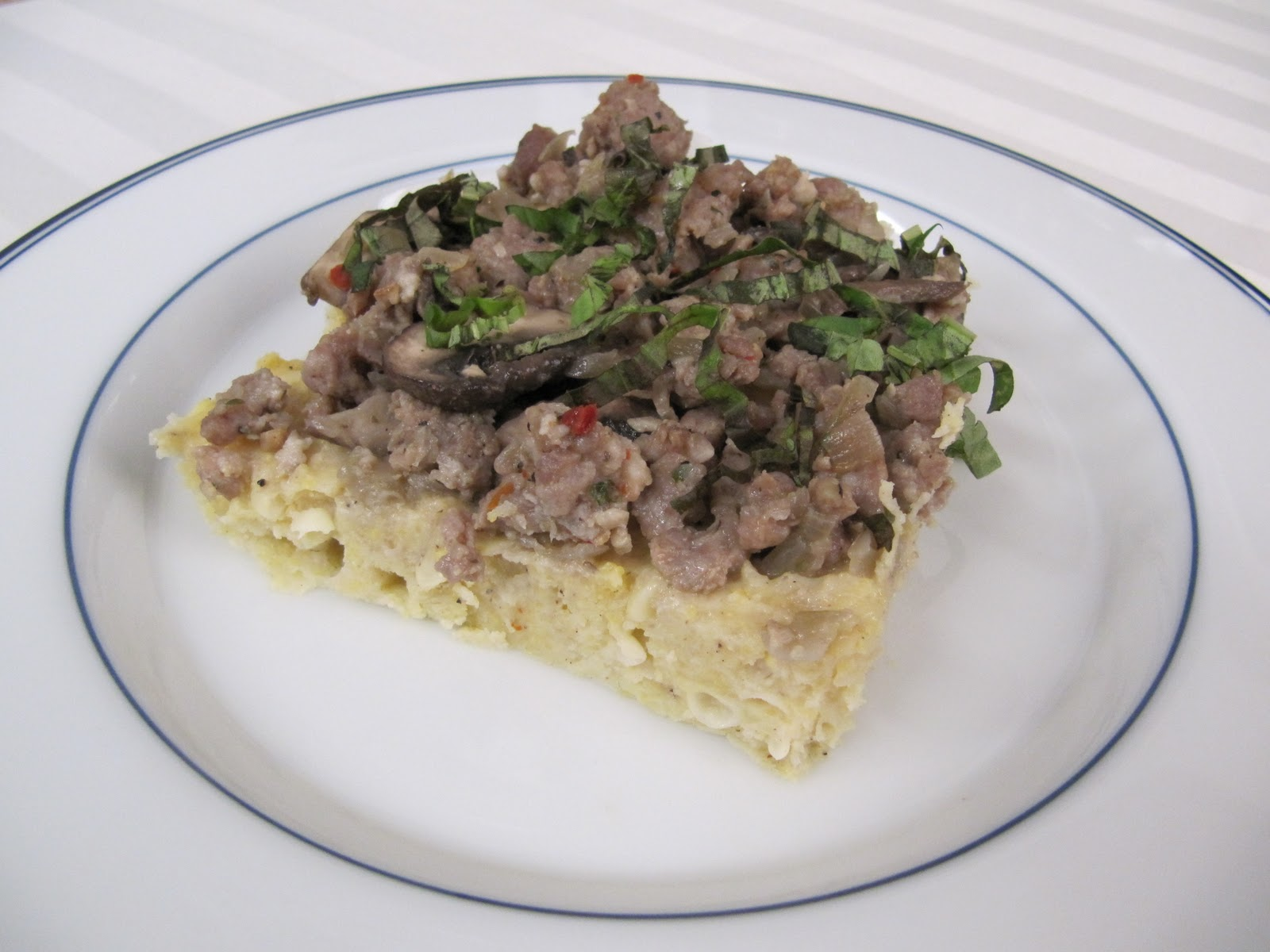 Krupcakes: Oven Baked Polenta with Sausage and Mushrooms