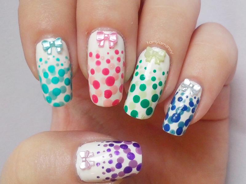 Colorful Bows & Dots Nails